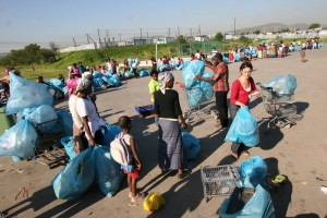 Taking bags at the Recycle Swop Shop