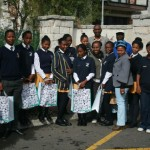 Group with their goody bags